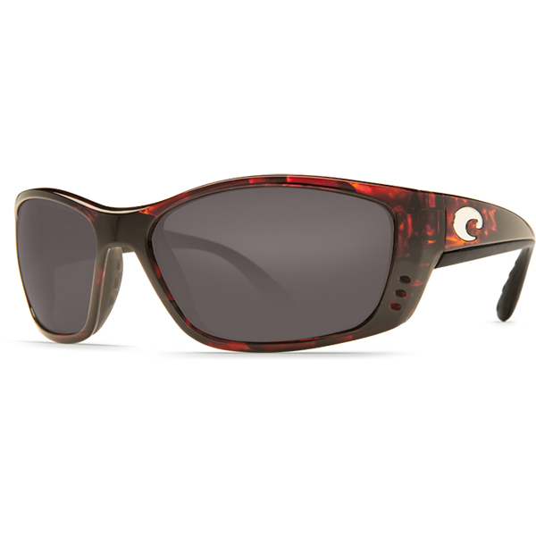 Fisch Sunglasses, Shiny Tortoise Frames with Costa 580 Gray Plastic Lenses Brown/gray