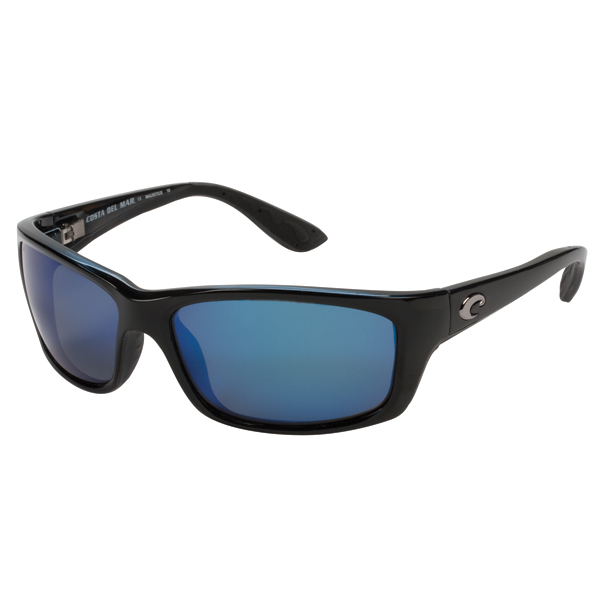 Jose Sunglasses, Black Frames with Costa 580 Blue Mirror Glass Lenses