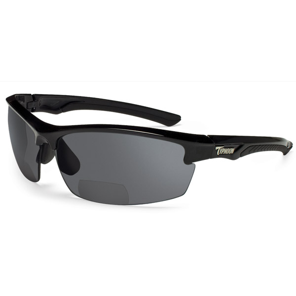 Typhoon Optics Mariner +1.5 Reader Sunglasses, Black/gray Frames with Horizon Gray Polarized Lenses