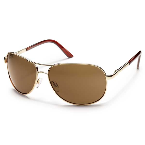 Suncloud Aviator Sunglasses, Gold Frames with Brown Lenses