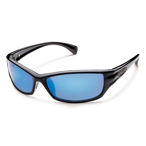 Suncloud Hook Polarized Sunglasses, Black Frames with Black_blue Mirrored Lenses
