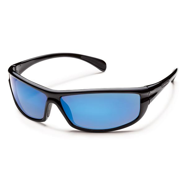 Suncloud King Polarized Sunglasses, Black Frames with Black_blue Mirrored Lenses