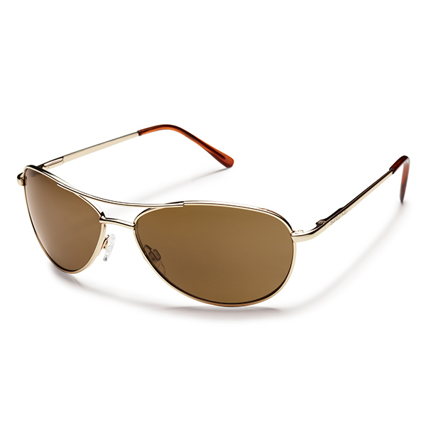 Suncloud Patrol Polarized Sunglasses, Gold Frames with Brown Lenses Gold/brown