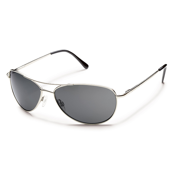Suncloud Patrol Polarized Sunglasses, Silver Frames with Grey Lenses Silver/gray