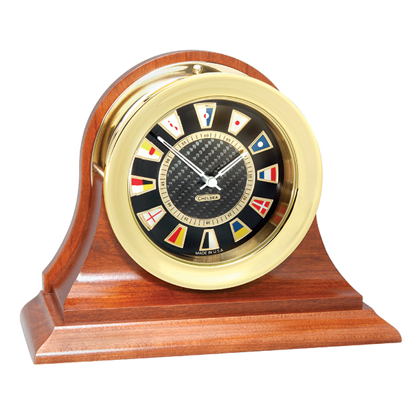 Chelsea Clock Carbon Fiber Flag Clock, Brass, Traditional Cherry Base
