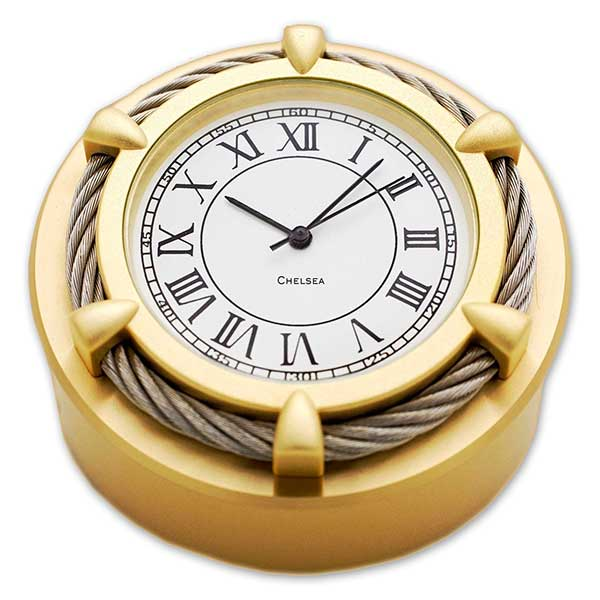 Chelsea Clock Cable Paper Weight Brass Clock