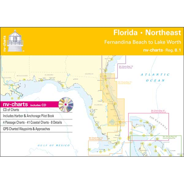 Nv Charts Reg. 8.1, Florida, Northeast, Fernandia Beach to Lake Worth Chartbook with Digital CD and App