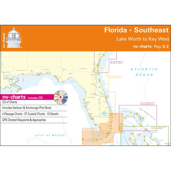 Nv Charts Reg. 8.2, Florida, Southeast, Lake Worth to Key West Chartbook with Digital CD and App