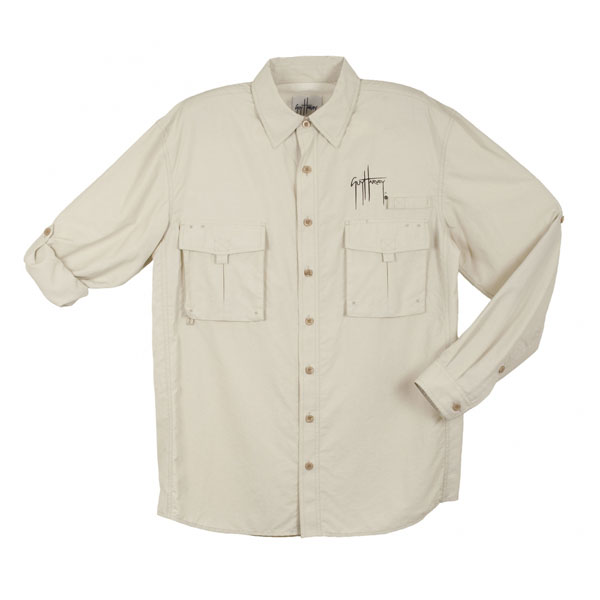 Guy Harvey Men's Grand Slam Long Sleeve Shirt Tan