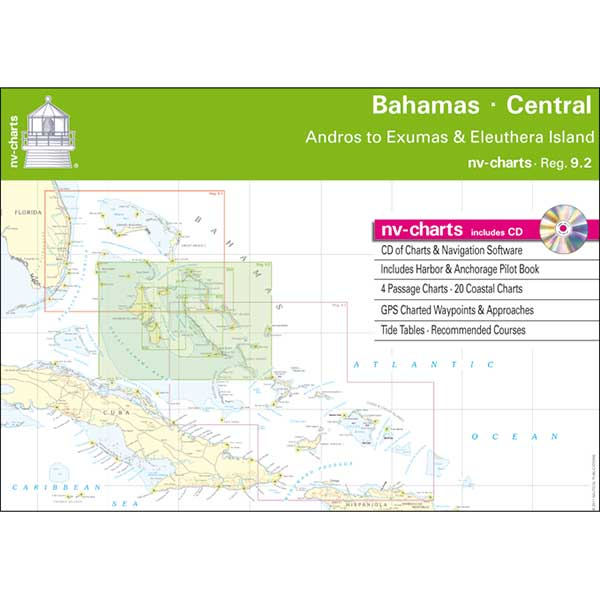 Nv Charts Bahamas Central, Andros to Exumas & Eleuthera Islands Chart Book with CD ROM