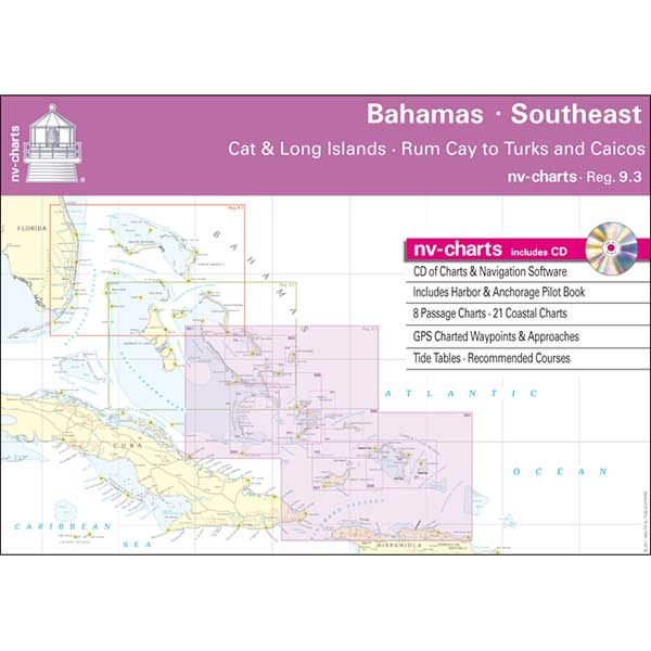 Nv Charts Bahamas South East, Cat & Long Islands, Rum Cay to Turks and Caicos Chart Book with CD ROM