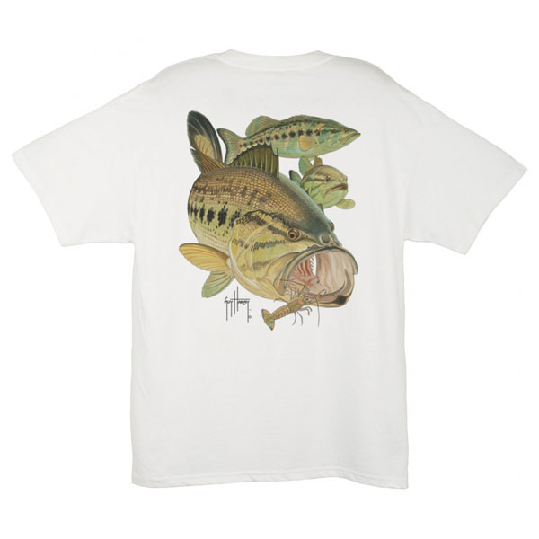 Men's Largemouth Bass & Crawdad Tee, White, M