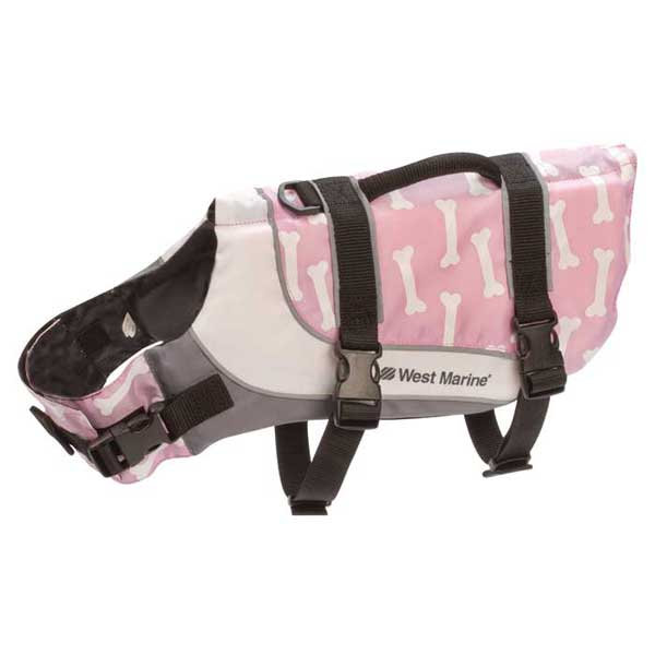 Deluxe Pet Vest PFD, Pink, Bone Motif, X-Small, Up to 12lbs.