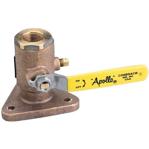 Apollo Valves Full-Port Flanged Bronze Seacock, 2 Pipe Size