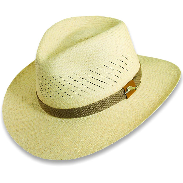 Tommy Bahama Men's Grade 3 Panama Outback Hat, Natural Straw, S/M Tan