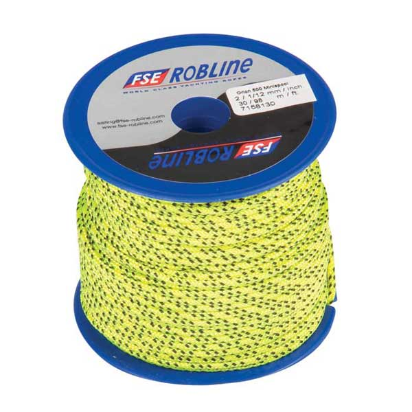 Polyester Braid Line Mini-Spool, 2mm, Yellow/Black Line, 98'