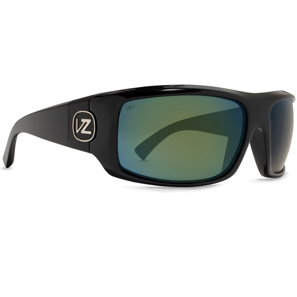 Vonzipper Clutch Sunglasses, Black Gloss Frames with Black/green Polarized Lenses