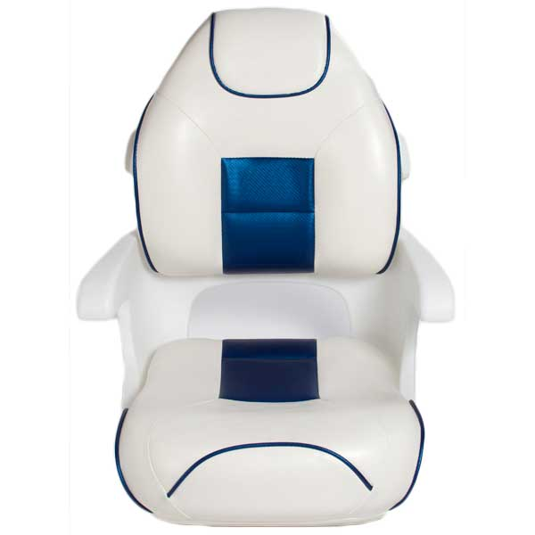 Tempress Ultimate Deluxe Elite Captains Helm Seat, White/Blue