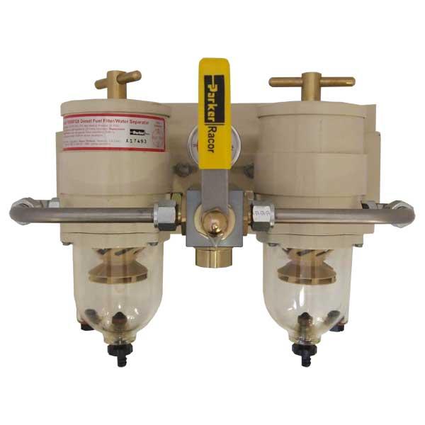 Racor Turbine Fuel Filter/Water Separator Duplex Assemblies, 120 GPH (454 LPH), 2 micron, 3/4-16 UNF (SAE J1926), 15 PSI, See-thru Polymer Bowl