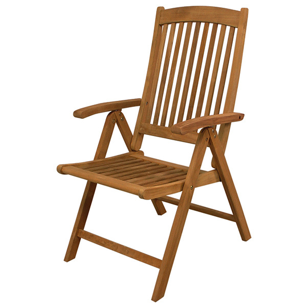 Seateak Avalon Folding Multi-Position Teak Deck Chair with Arms