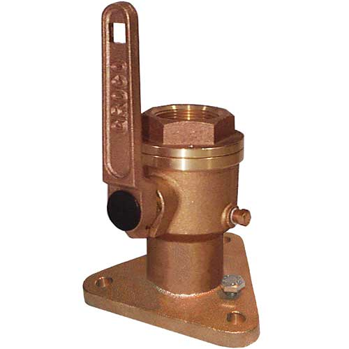 Groco Full-Flow Flanged Bronze Seacock, 1-1/2 Pipe Size