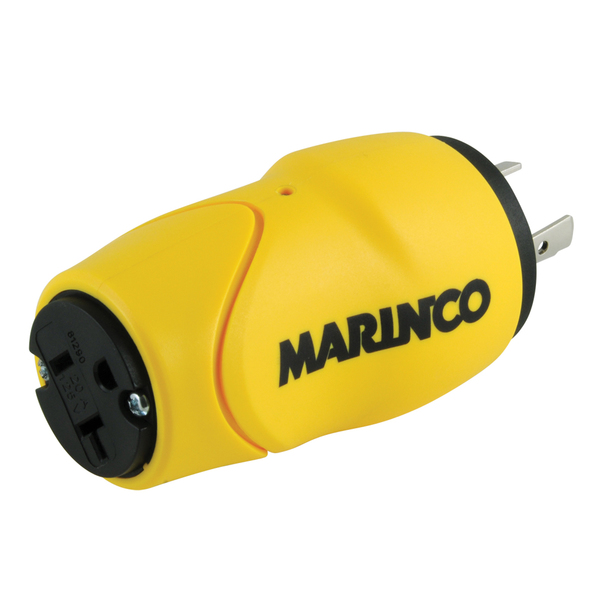 Marinco EEL-Style ShorePower Straight Adapter, 20A M-15A F, 1Piece