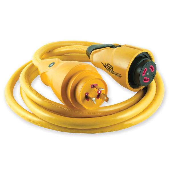Marinco EEL ShorePower Cord, 30A/125V, 12', Yellow