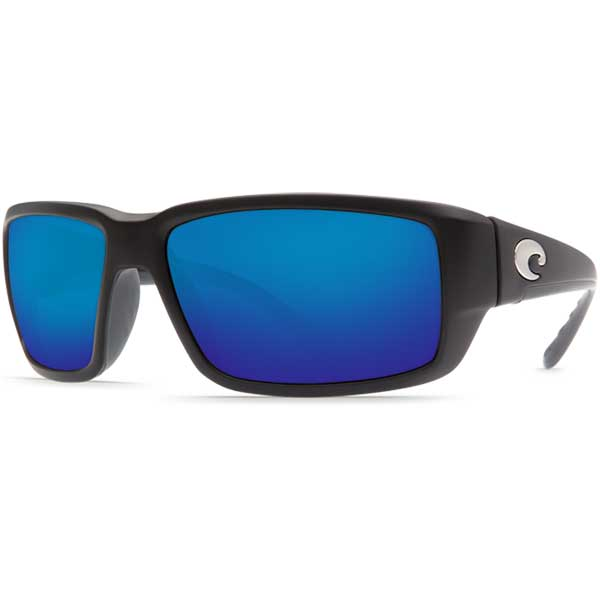 Fantail Sunglasses, Black Frames with 580G Blue Mirrored Lenses