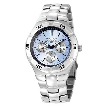 Silver Metal Round Multifunction Watch, Blue Dial