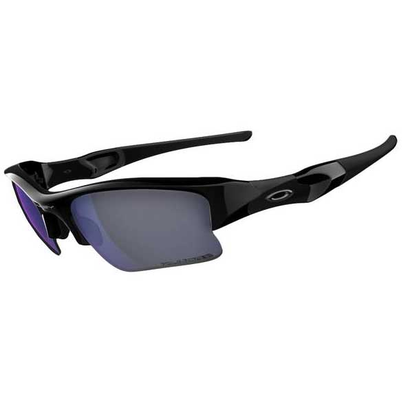 Oakley Flak Jacket XLJ Angling Specific Sunglasses, Polished Black Frames with Deep Black/blue Polarized Lenses