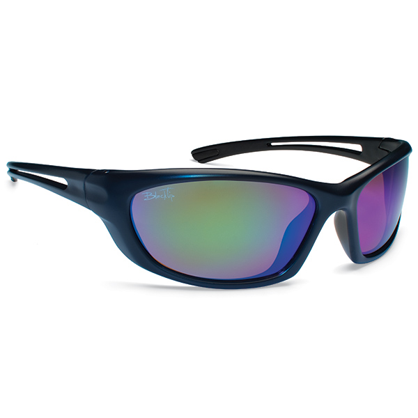 Blacktip Thresher Sunglasses, Black Frames with Black/green Mirrored Lenses