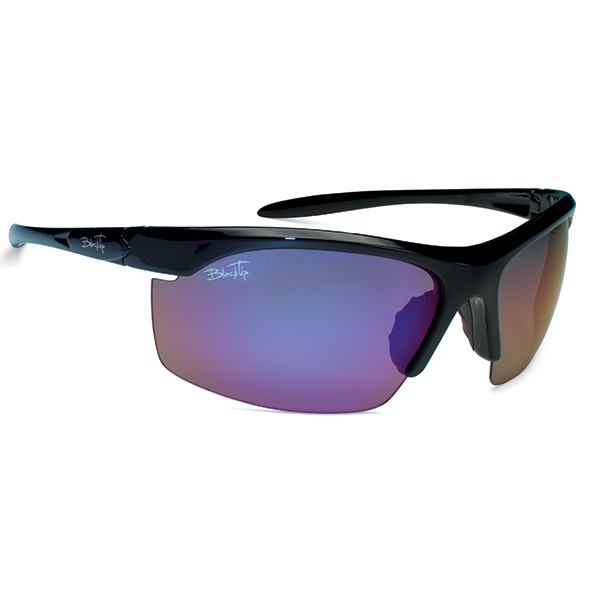 Blacktip Reef Sunglasses, Black Frames with Black_blue Mirrored Lenses