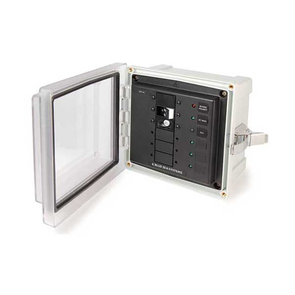 Blue Sea Systems Enclosed ELCI Main Circuit Breaker Panel, 30A 120V AC, ELCI Main and 3 Blank Circuit Positions Sale $284.99 SKU: 13176433 ID# 3116 UPC# 632085031169 :