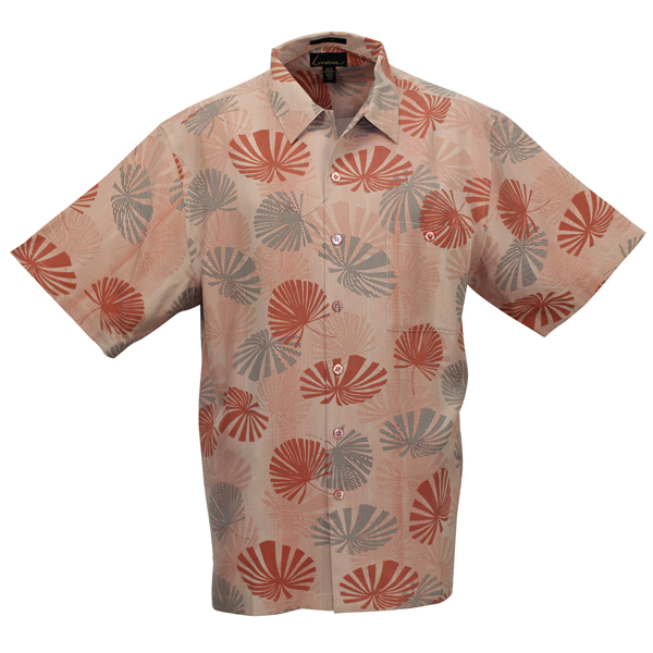 LUAU Men's Canopy Shirt, Coral, XL