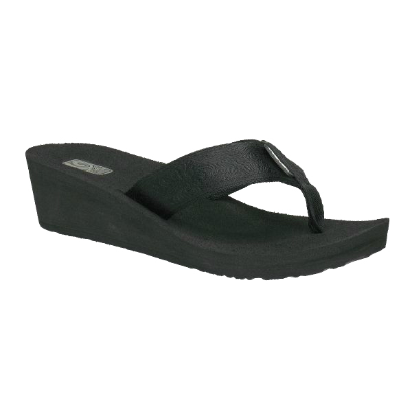 Women's Mush Mandalyn Wedge 2 Thongs, Black, 6
