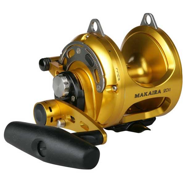 Okuma Makaira 2 Speed Conventional Reel 50WII, 3.2:1 & 1.3:1 GR, 4BB + 1 TB, 65 oz., 37.8 Line Retrieve, 85lb. Max Drag, Line Capacity 900/50 (0.70), 780/60