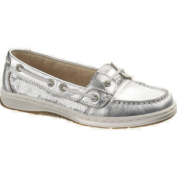 Women's Skimmer Boat Shoes, Silver Sequin, 5M