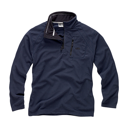 Men's Grid Microfleece Zip-Neck Sweater, Navy, S
