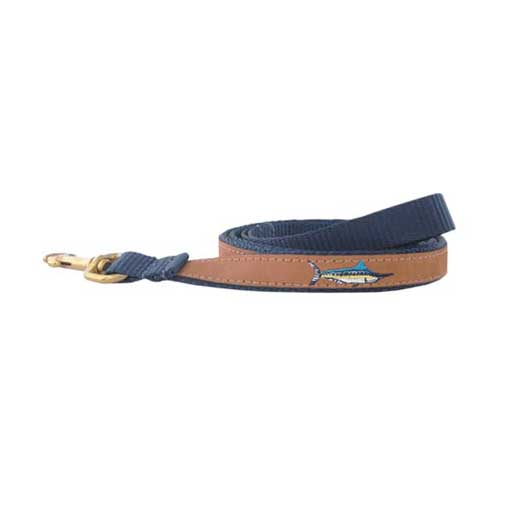 Wm Belt Marlin Embroidered Leather Dog Leash Brown/navy