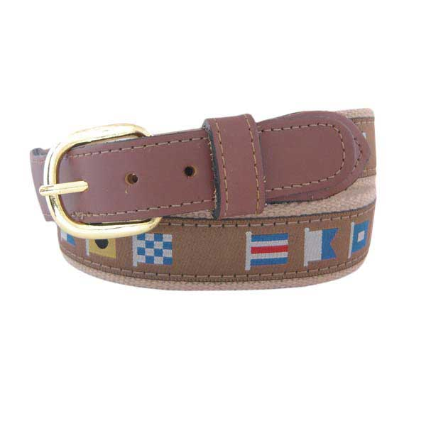 Men's Captain Code Flag Ribbon Belt, Tan, 32