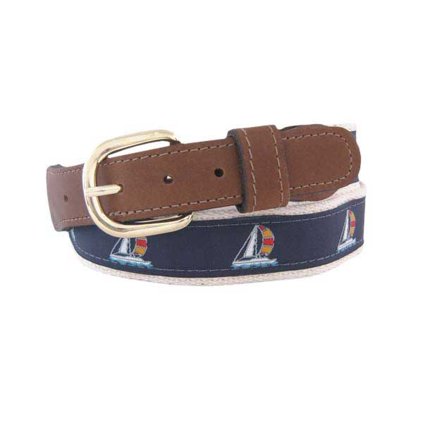 Men's Sailboat Ribbon Belt, Natural, 34