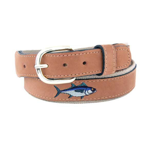 Men's Embroidered Blue Fin Tuna Belt, Tan, 32