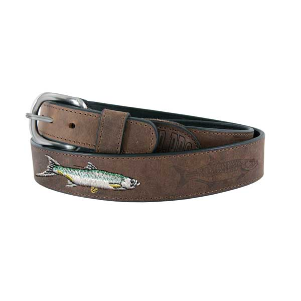Men's All Leather Tarpon Belt, Dark Tan, 34