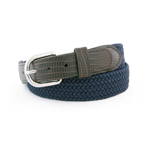 Men's Lizard Stretch Macrame Belt, Navy, 32