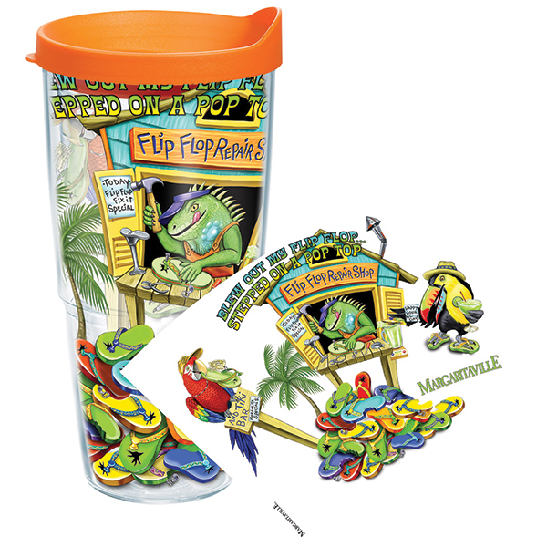 Tervis Blew Out My Flip Flop 24 oz. Wrap Tumbler, With Lid Sale $19.99 SKU: 14058630 ID# MRGV-24-FFRSWRA UPC# 93597479625 :