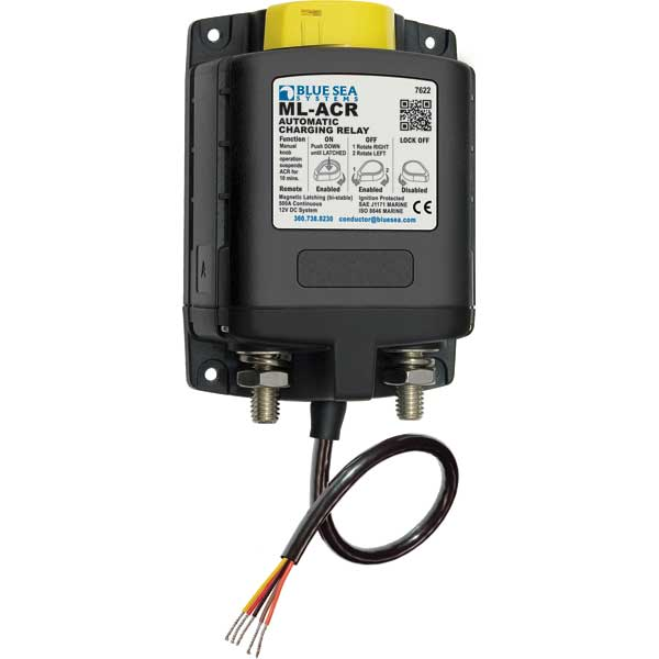 Blue Sea Systems ML-ACR Automatic Charging Relay with Manual Control - 12V DC 500A Sale $249.99 SKU: 14122147 ID# 7622 UPC# 632085076221 :