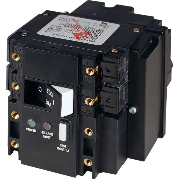 Blue Sea Systems C-Series ELCI Main Circuit Breaker - Double Pole 120V AC 50A Sale $289.99 SKU: 14122311 ID# 3103 UPC# 632085031039 :