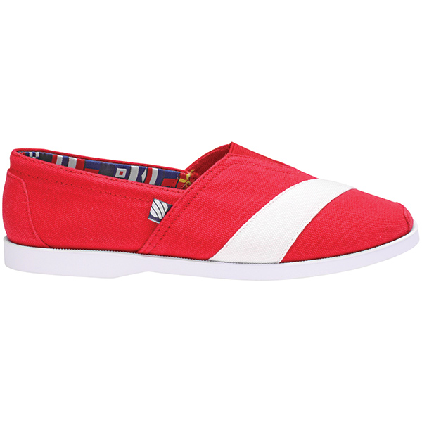 Women's Casual Canvas Boat Shoes, Red, 6.5