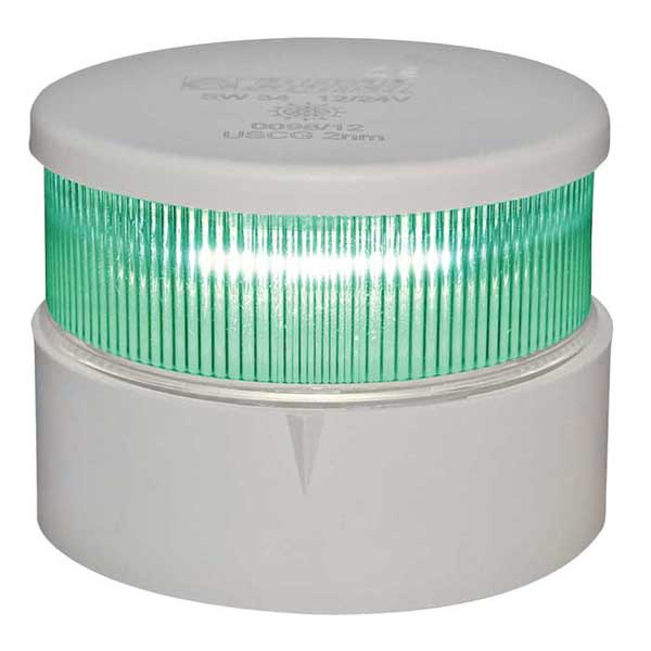 Aqua Signal Series 34 LED Navigation Light, All Round Green, White Housing