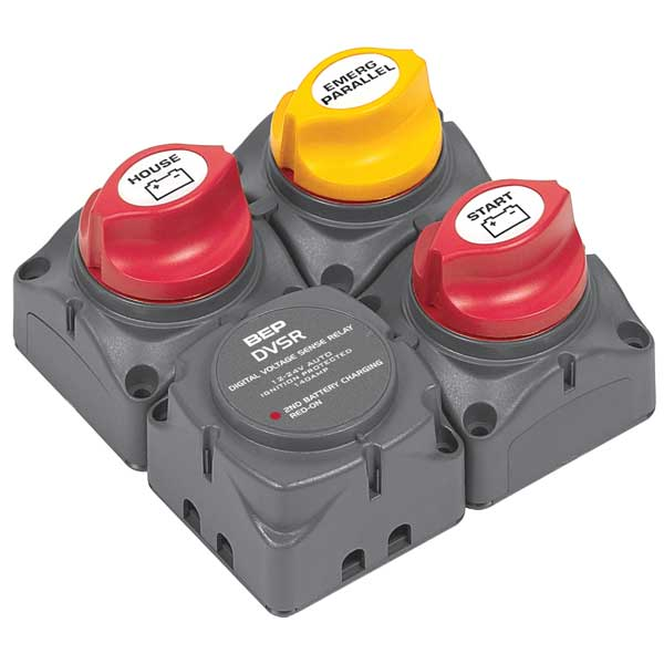 Bep Marine Square Battery Distribution Cluster for Single Engine with Two Battery Banks